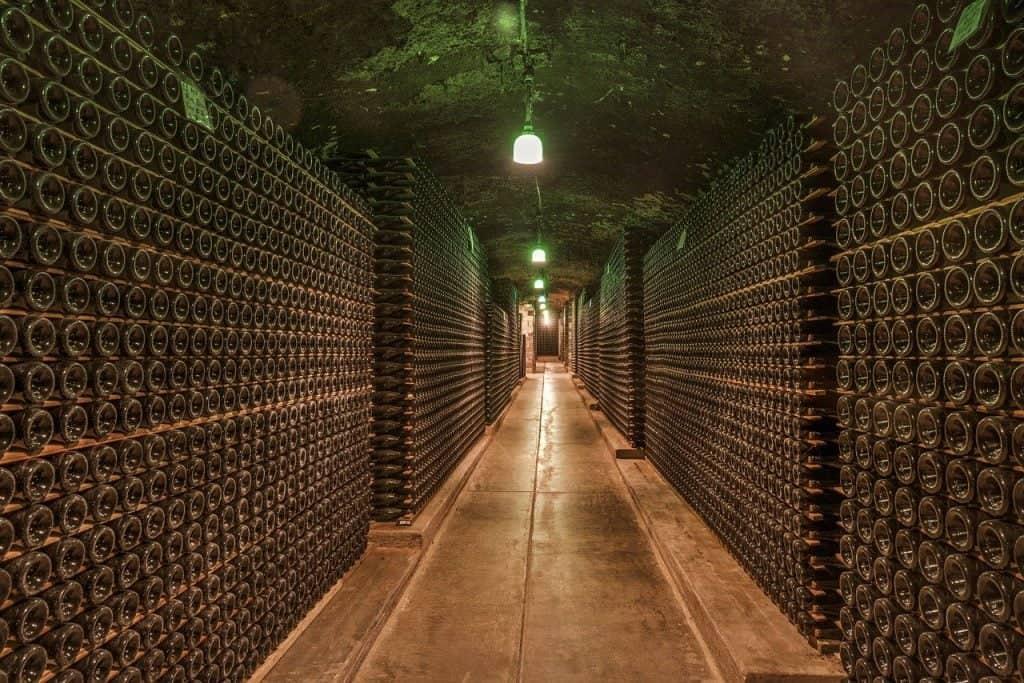 wine cellar, cave, bottles