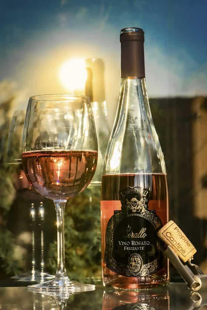 rose, wine, glass